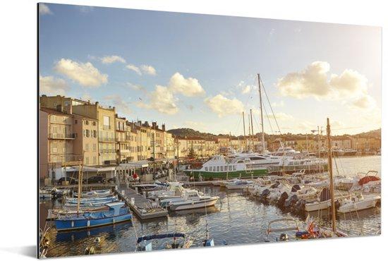 De haven van de Franse havenplaats Saint-Tropez Aluminium 180x120 cm - Foto print op Aluminium (metaal wanddecoratie) XXL / Groot formaat!