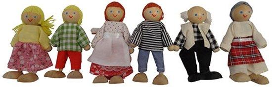 Poppenhuis poppen familie, 6 stuks