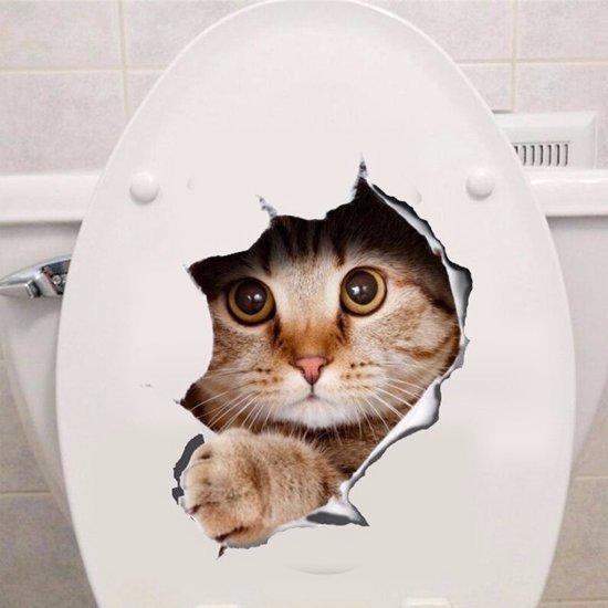 Sticker - Kattensticker - Wc sticker - Kat - Poes - Katten sticker - Decoratiesticker - Interieur - Muur sticker