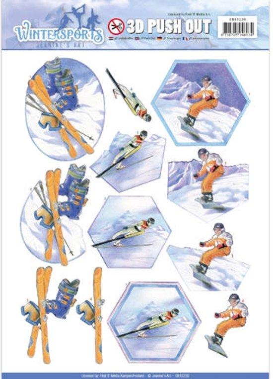 Uitdrukvel  - Jeanine's Art - Wintersports - Sneeuw plezier