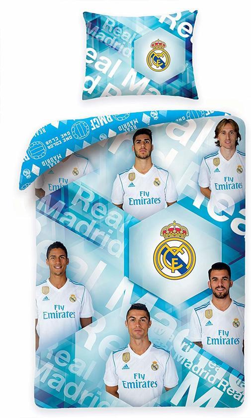 Real Madrid Team Real Dekbedovertrek - Eenpersoons - 140x200 cm - Ice Blue