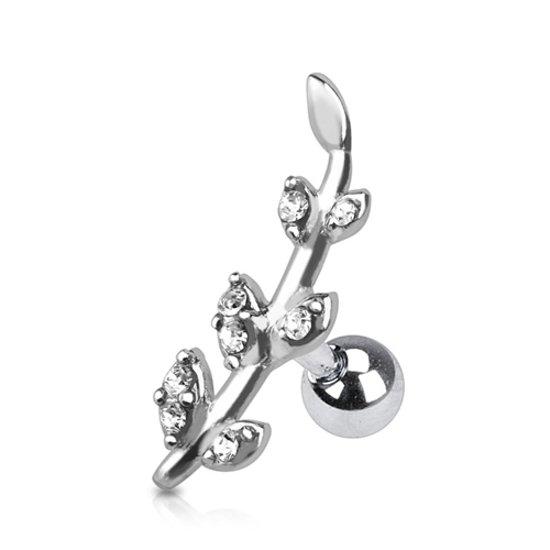 Helix piercing flower line wit ©LMPiercings