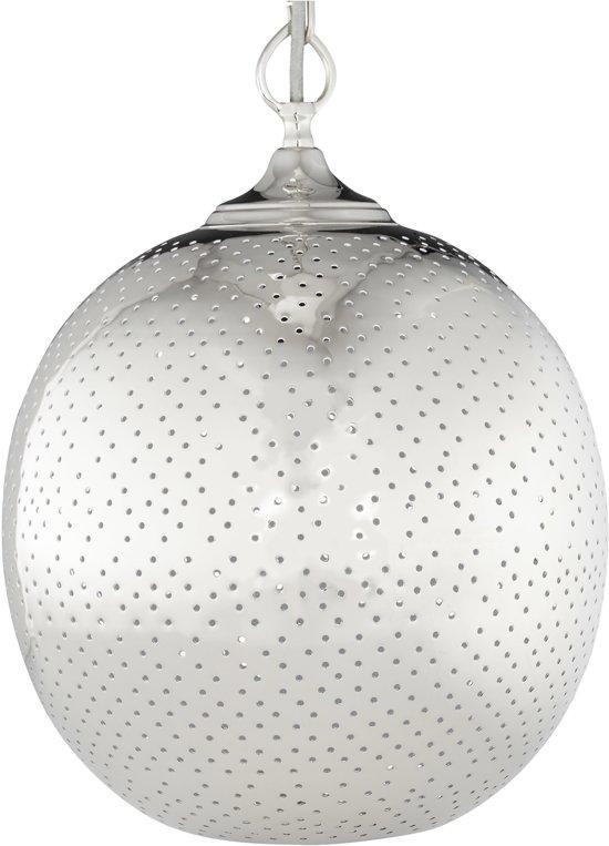 relaxdays hanglamp bolvormig met gaten - retro plafondlamp zilver - E27 fitting - nikkel