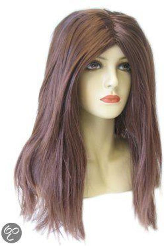 Gigi pruik bruin lang haar met scheiding