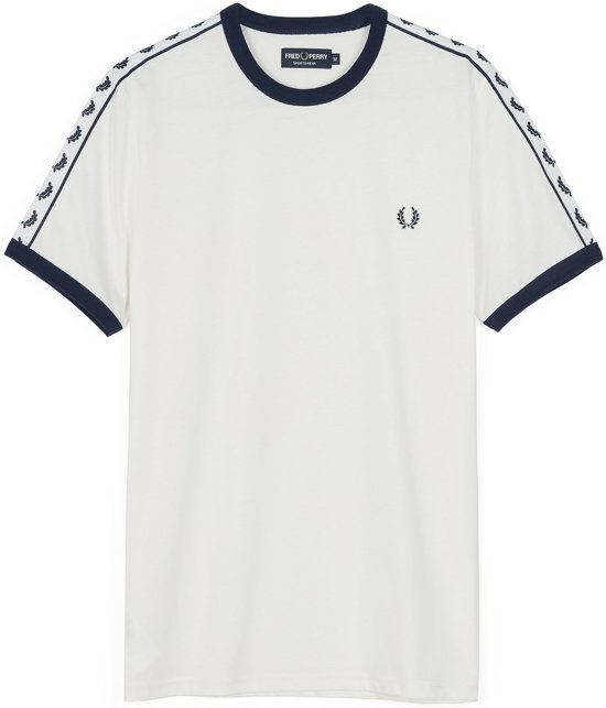 navy Taped SportshirtMaat Wit Fred Perry L Ringer Mannen 5jAR4L