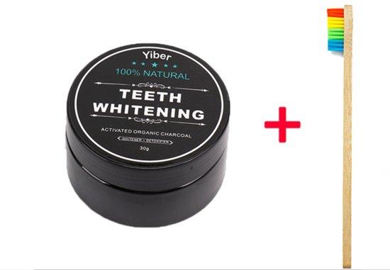Charcoal Tandenbleker + Bamboe Borstel 100% Natural Teeth Whitening, Activated Charcoal Tandenbleker