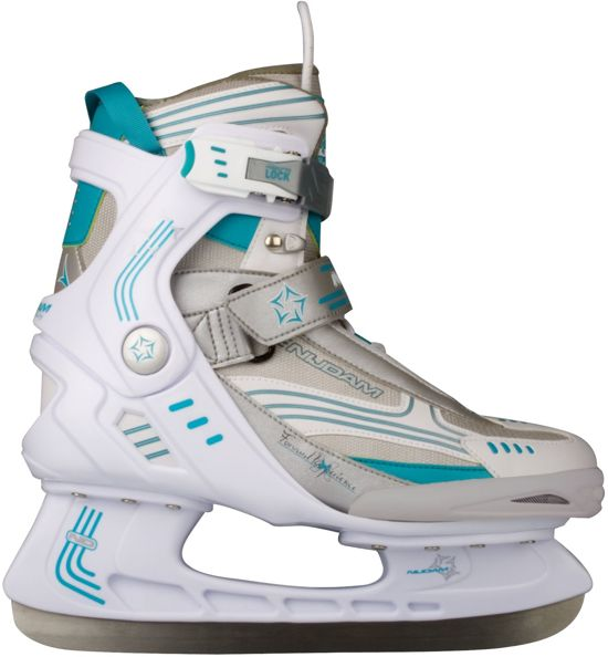 Nijdam 3353 Ijshockeyschaats - Semi-Softboot - Wit/Turquoise - Maat 36