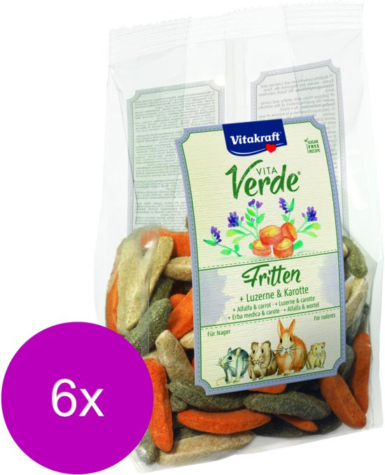 Vitakraft Vita-Verde Fritten - Knaagdiersnack - 6 x 200 g