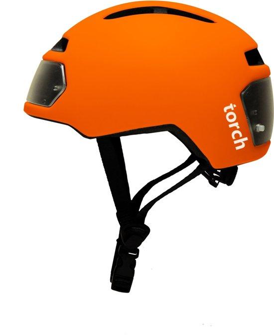 torch t2 orange fietshelm met ingebouwde voor en achter verlichting
