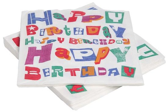 Cosy&Trendy 'Happy Birthday' verjaardag servetten 33 x 33 cm - Set-20 Valentinaa
