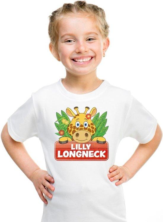 Lilly longneck de giraffe t-shirt wit voor kinderen - unisex - giraffen shirt M (134-140)