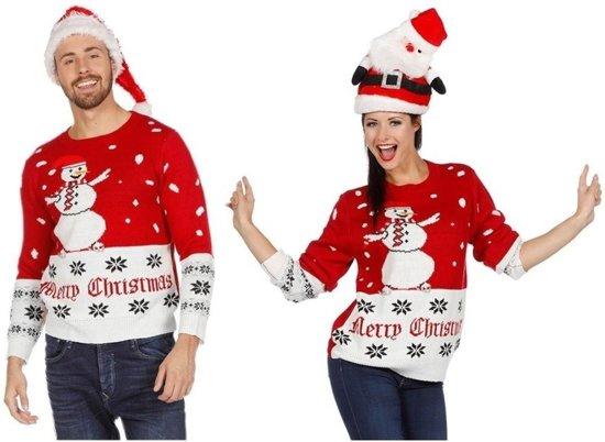 Witte Kersttrui.Bol Com Rood Witte Kerst Trui Met Sneeuwpop Voor Volwassenen 56