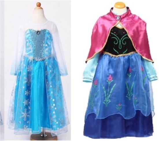 5d587f3eee4762 Prinses Elsa + Anna verkleedjurk met cape maat 128 134 (labelmaat 140)