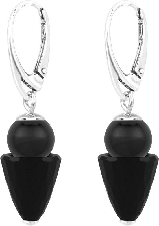 ARLIZI Oorbellen - zwart Swarovski parel zwart kristal - zilver - 1467
