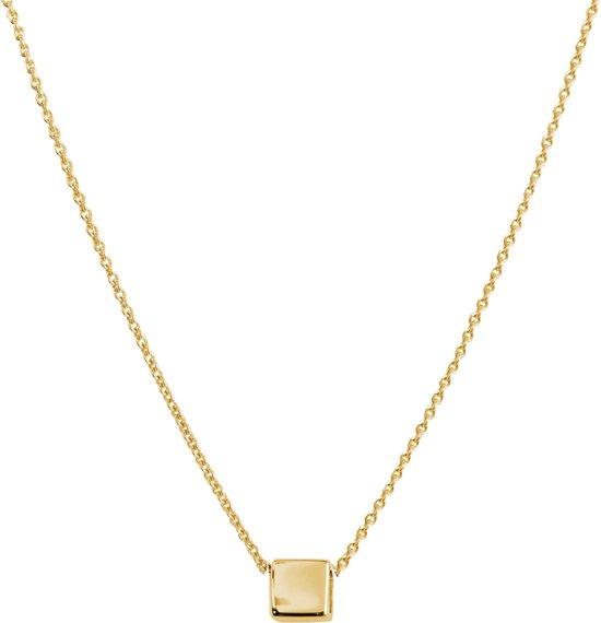 Glow ketting met dicht vierkantje - geelgoud - ankerschakel - 42+2cm