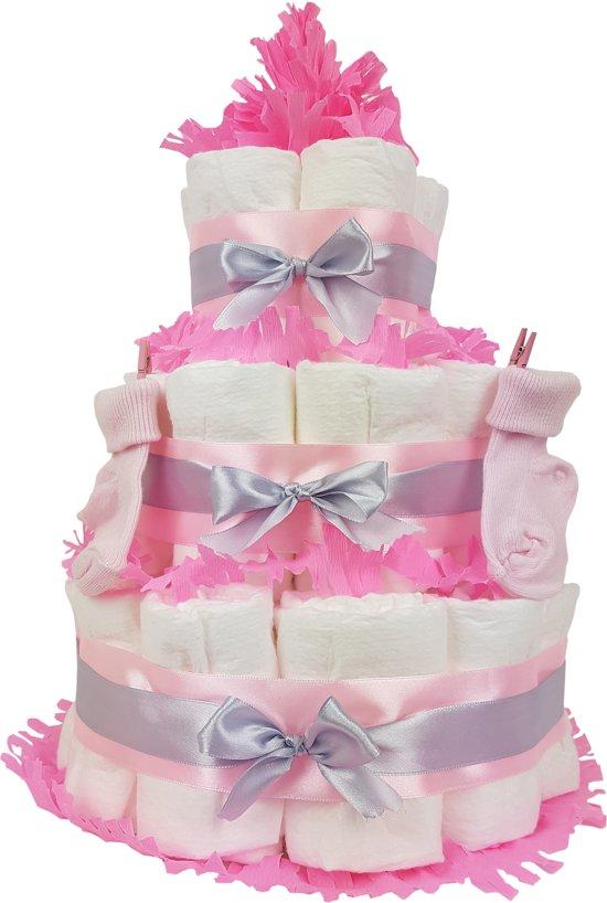 Luiertaart meisje 3-laags roze | 45 A-merk Pampers | schattige sokjes | XL geboortekaart | ideaal voor babyshower, kraamcadeau en Baby cadeau