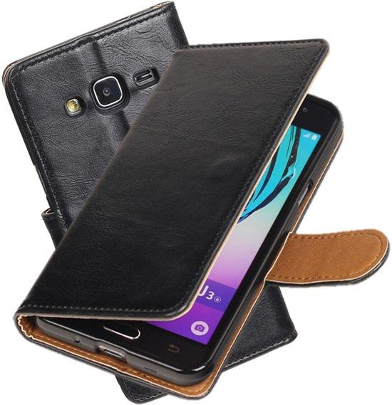 MP Case zwart vintage look hoesje voor Samsung Galaxy J3 (J320F) book case in Boord