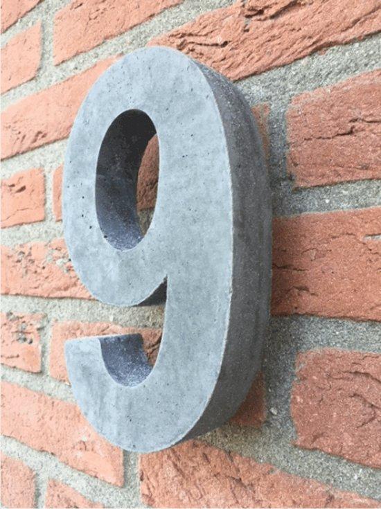 Betonnen huisnummer, hoogte 20cm, huisnummer beton cijfer 9