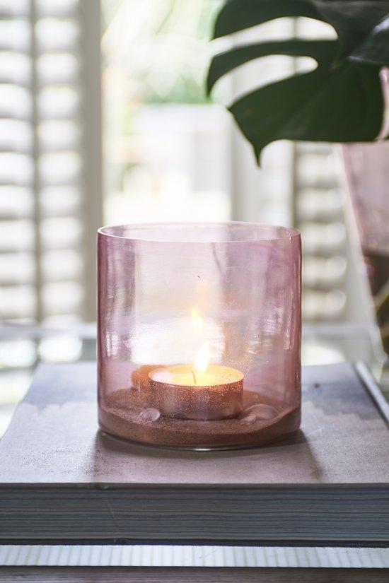Riviera Maison Mallorca Luster Votive - Waxinelichtjeshouder - Roze - Glas