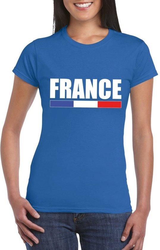 Blauw Frankrijk supporter t-shirt voor dames 2XL
