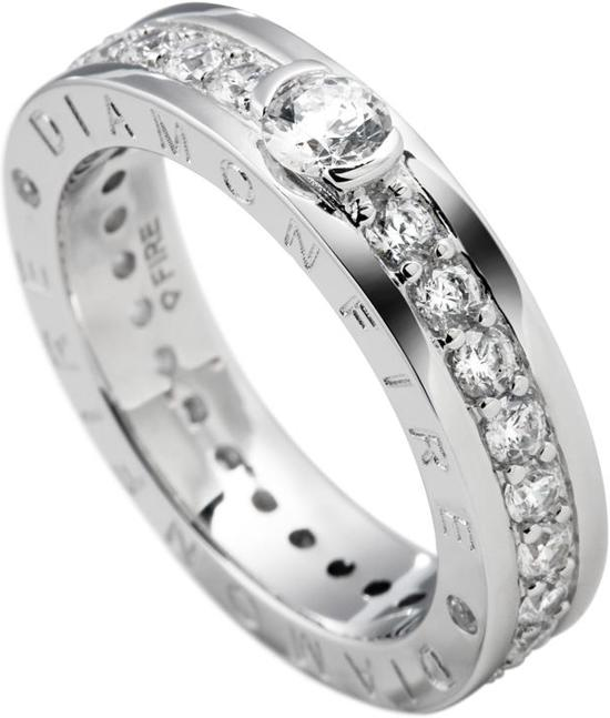 Diamonfire - Zilveren ring met steen Maat 19.5 - Railzetting - Solitaire - Diamonfire