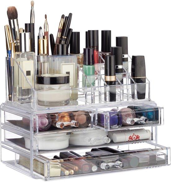 relaxdays make-up organizer - tweedelig - cosmetica opbergdoos + lippenstift houder doorzichtig