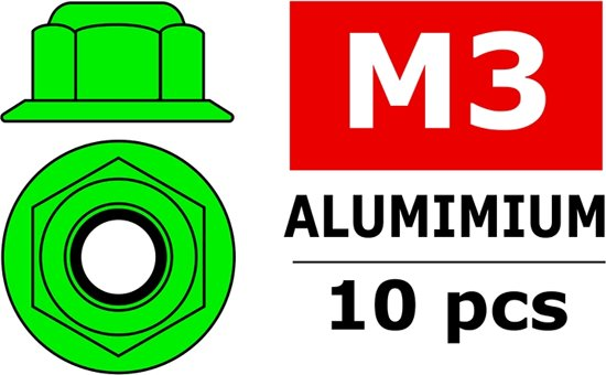 Team Corally - Aluminium zelfborgende zeskantmoer met flens - M3 - Groen - 10 st