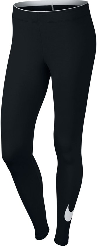 Nike Legging Club Logo Sportlegging Dames - Zwart/Wit