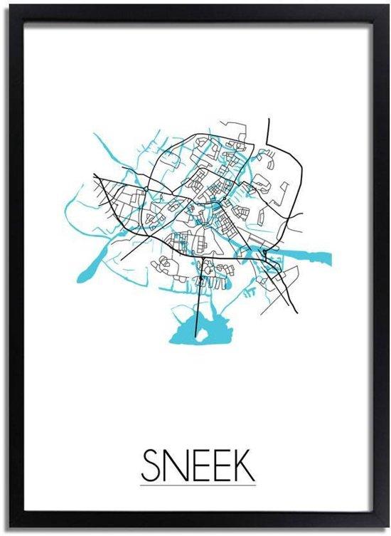 Plattegrond Sneek Stadskaart poster DesignClaud - Wit - A2 + fotolijst zwart