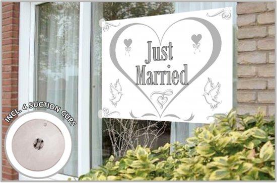 Just Married gevelvlag 150 x 100 cm - bruiloft versiering
