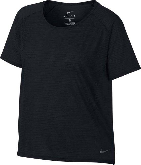 Nike Miler Top SS Breathe Sportshirt Dames BlackHtr(Reflective Silv)