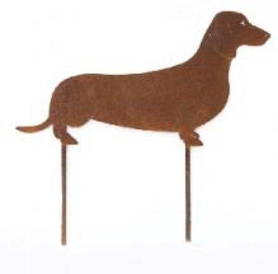 Gazonsteker Tuinsteker Hond Teckel Ecoroest - metaal