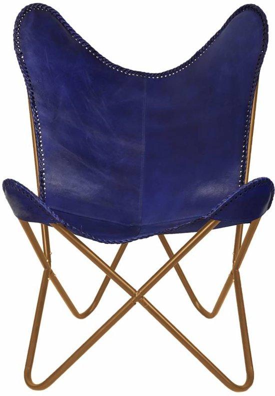 Blauw Leren Stoel.Bol Com Vlinderstoel Blauw Leren Stoel