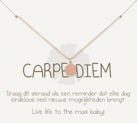 Simply Because Carpe Diem! Ketting (roségoud, bedel bloem) 42 cm