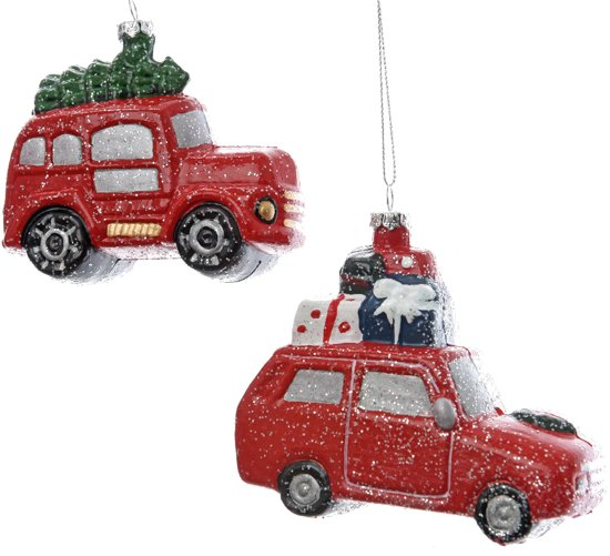 Kerstboomhangers Assorti Auto 2 Stuks Rood