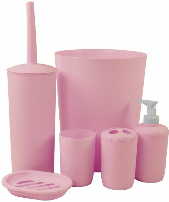 bol.com | Badkamer en toiletset 6 delig roze