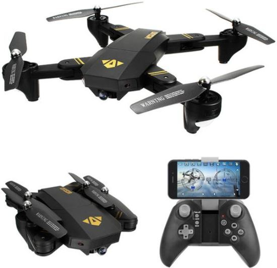 Visuo RC drone XS809H-W-HD-G (inclusief 2 batterijen) met FPV Wifi met Wide Angle HD camera (quadcopter)