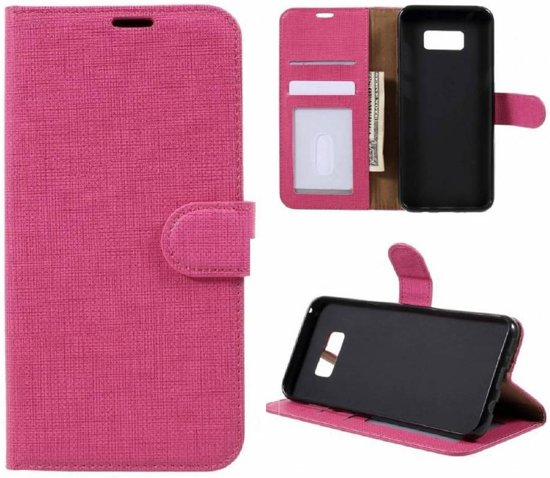 GSMWise - Samsung Galaxy S8 Plus - Lychee Textuur Lederen Portemonnee Hoesje met Kaarthouder - Magenta Hot Pink