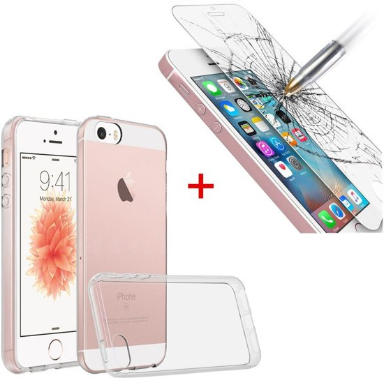 Apple iPhone SE Ultra Thin 0.3mm Gel Silicone Transparant Case Hoesje + Glazen Screenprotector Tempered Glass 2.5D 9H (0.3mm)
