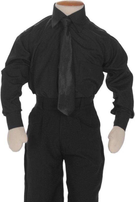 Kinderoverhemd lange mouw zwart-116