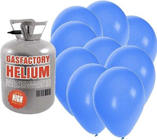 Helium tank met 30 blauwe ballonnen - Blauw - Heliumgas met ballonnen voor een thema feest