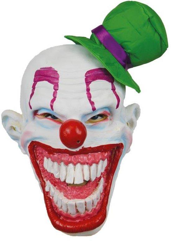 Halloween Pakjes.Evil Killer Clown Masker Met Grote Lach En Groen Hoedje Halloween