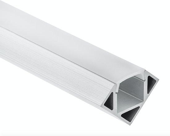 LED Hoek profiel  - 2 meter - met gratis afdekking - inclusief eindkappen en montageklemmen