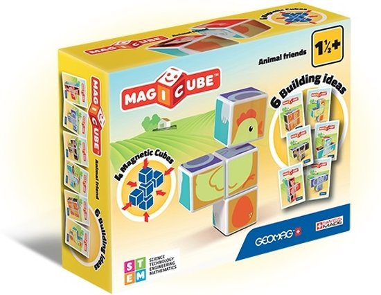 Geomag MagiCube Dierenvrienden - 4 delig - magnetische blokken