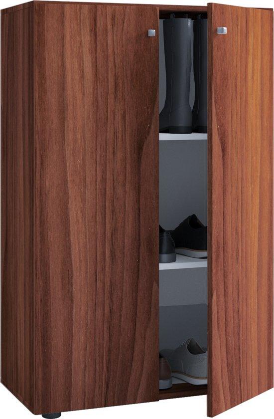 Kledingkast Opbergkast Kinderkamer Vandol Lonal Mini 110 Cm Hoog 3 Opbergvakken Donkerbruin Noten Kleur