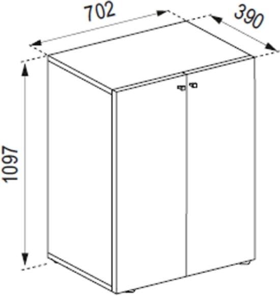 Kledingkast opbergkast ( kinderkamer ) Vandol Lonal Mini 110 cm hoog 3 opbergvakken donkerbruin noten kleur