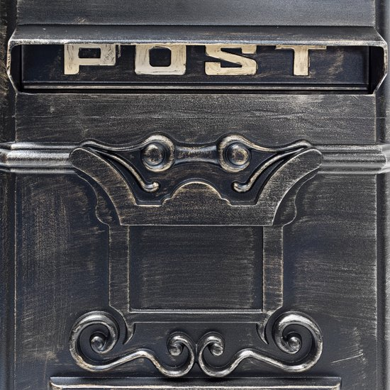 relaxdays Engelse staande brievenbus, Kolombrievenbus antiek design staand Alu bronzen