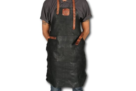 Professioneel echt rundleer Zwarte Leren BBQ Schort Luxe - Lederen barbeque Schort - Kokschort - Kookschort - BBQ Schort - Zwart - Black - Tan