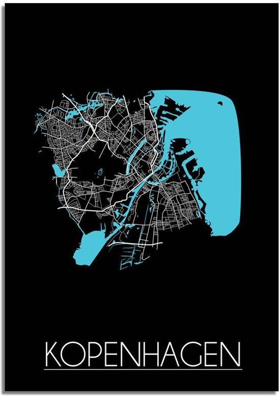 Plattegrond Kopenhagen Stadskaart poster DesignClaud - Zwart - A4 + fotolijst wit