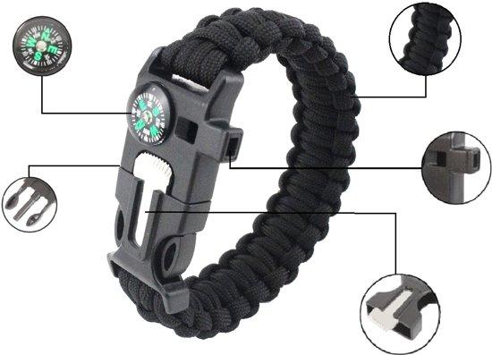 CAMPINGWISE ® survival paracord armband met 5 functies in zwart